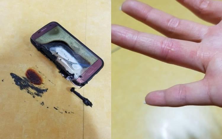 Galaxy S7 queimando. Foto: Divulgação