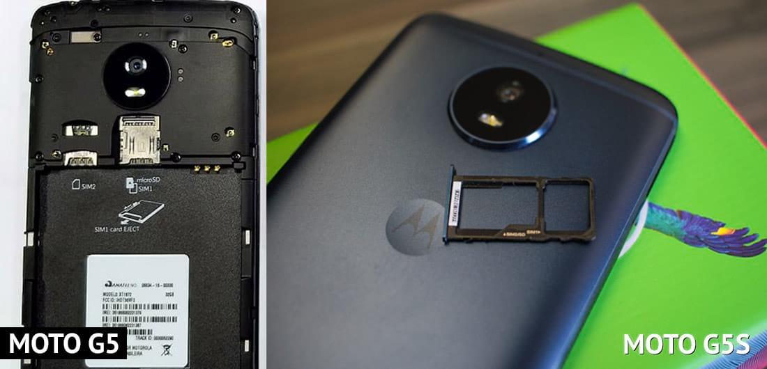 Diferenças nos slots para cartão SIM entre o Moto G5 e Moto G5S