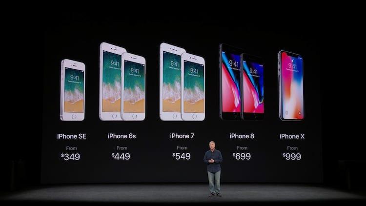 iPhone X - Preço US$ 999