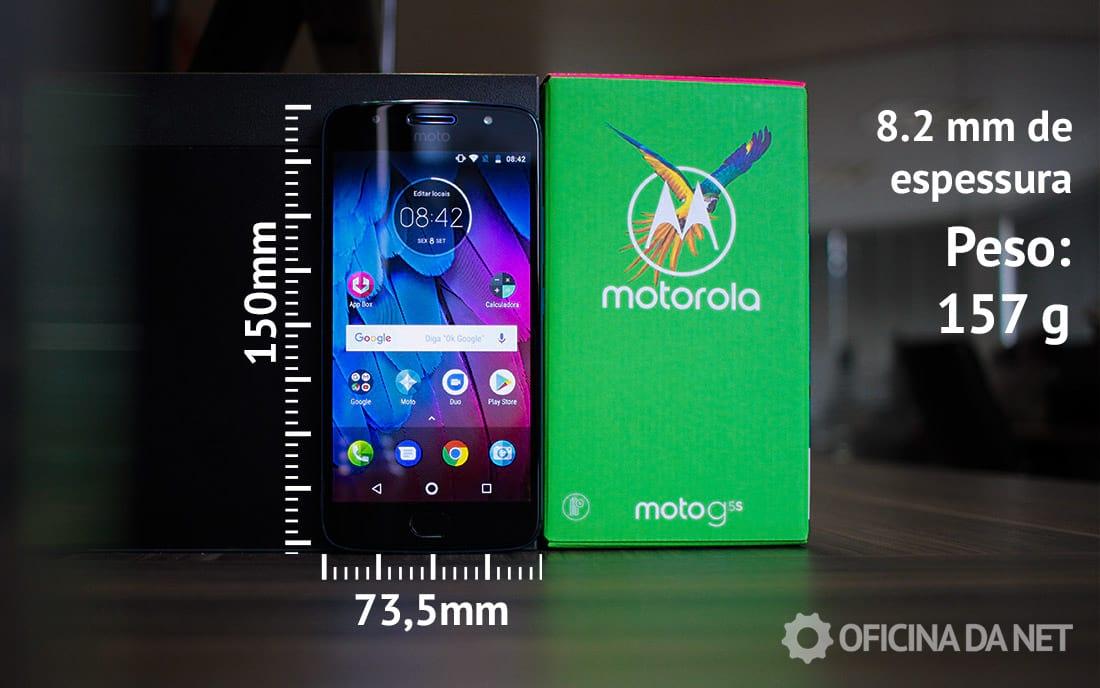 Dimensões do Moto G5S: 150 x 73.5 x 8.2 mm. Peso 157 gramas