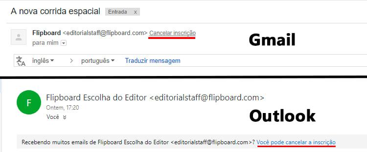 Como cancelar a subscrição de e-mails indesejados