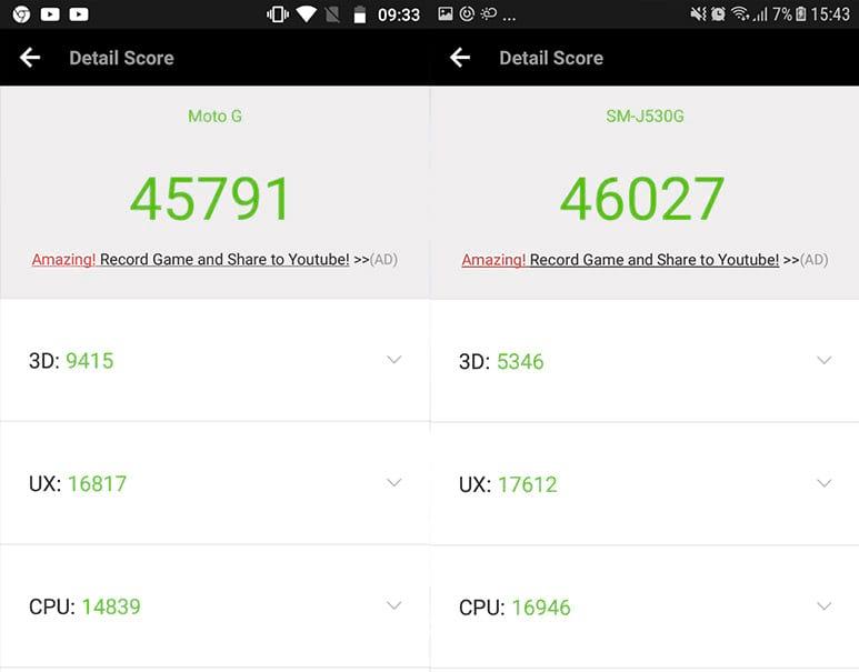 Moto G5S vs Galaxy J5 Pro - AnTuTu