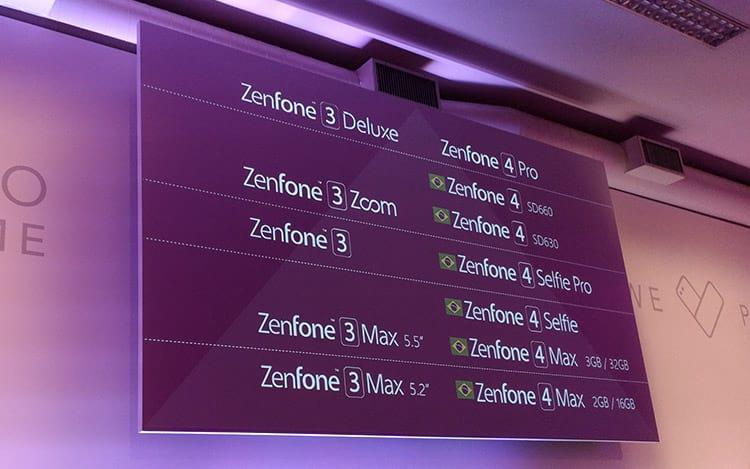Todos os Zenfones vendidos pela ASUS no momento
