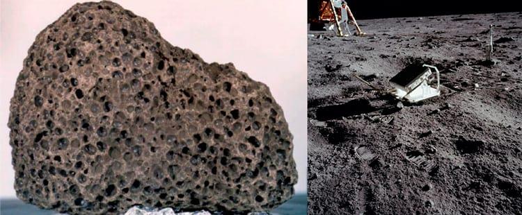 Alerta: risco de tripofobia. À esquerda uma rocha lunar e à direita um dos painéis