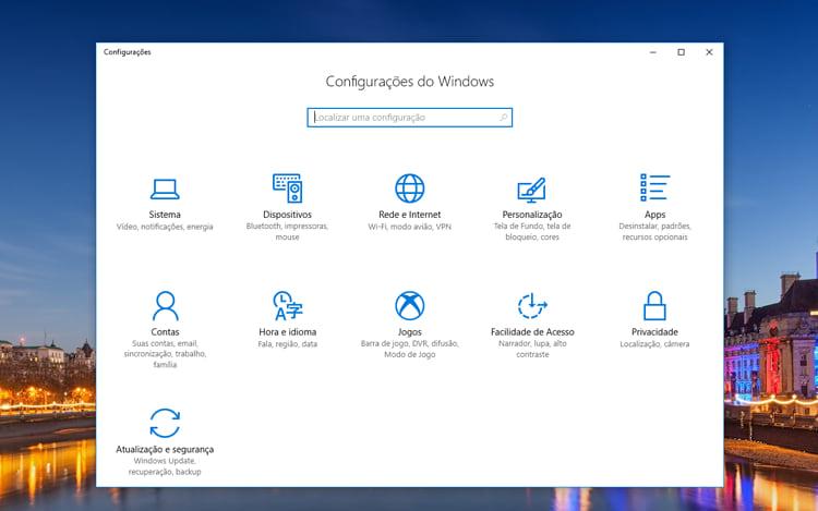 Configurações do Windows, busque atualizações através da plataforma.