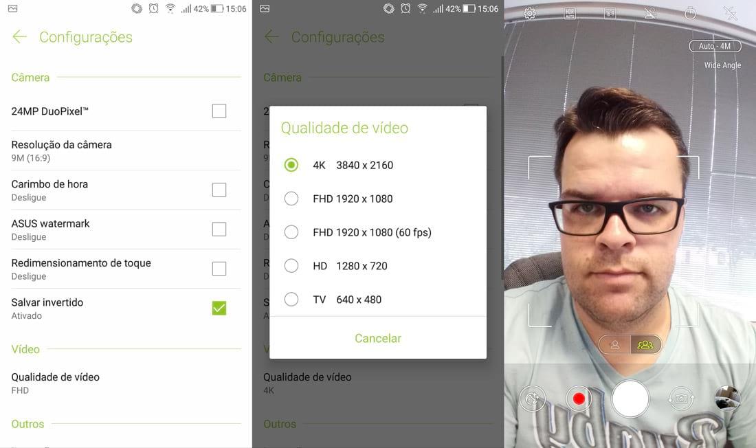 Zenfone 4 Selfie Pro app de câmera