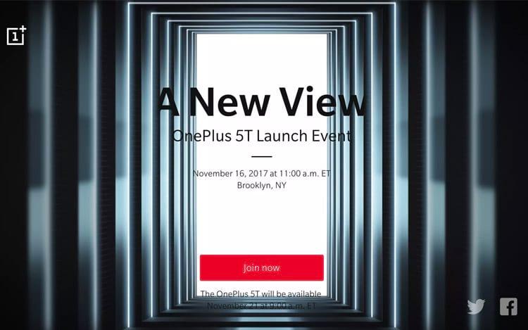 OnePlus 5T será anunciado dia 16 de novembro às 14 horas no horário de Brasília