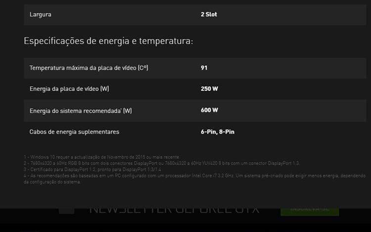 Fonte recomendada para uma placa de vídeo Nvidia GTX 1080TI