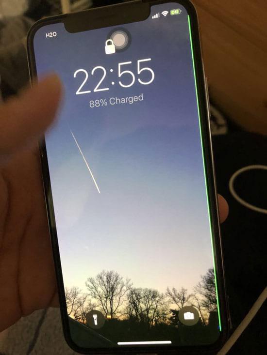 Linha verde na tela do iPhone X