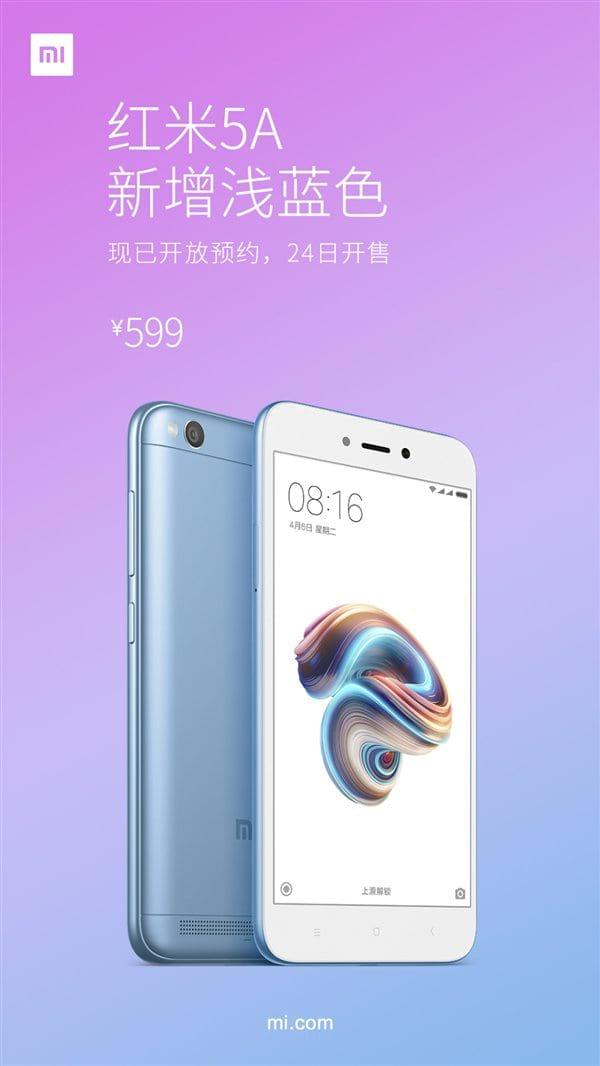 Redmi Note 5A ganha versão na cor azul