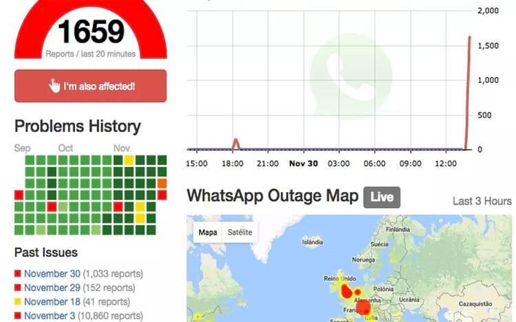 Site registra inúmeras reclamações pela falha no WhatsApp