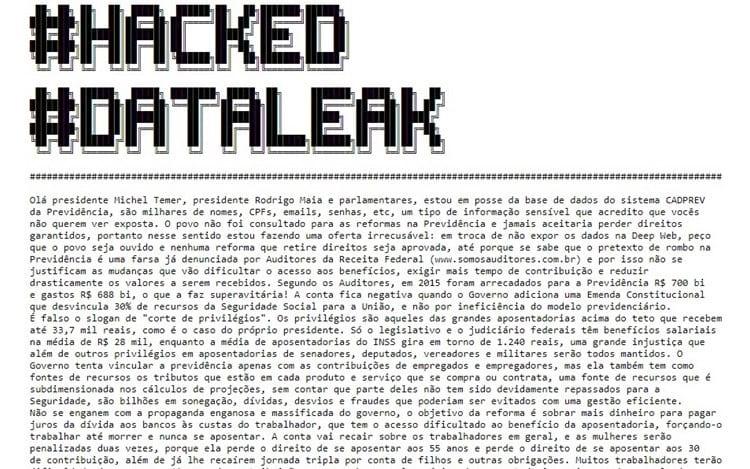 Hackers exigem que o povo seja ouvido