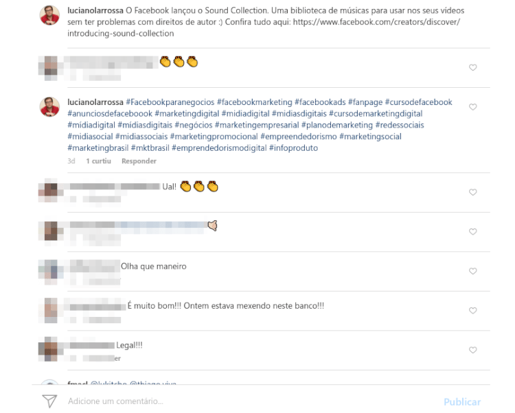 Instagram: comente sempre que possível