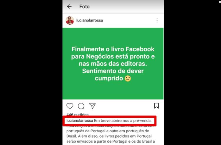 Instagram: principal informação no começo da legenda