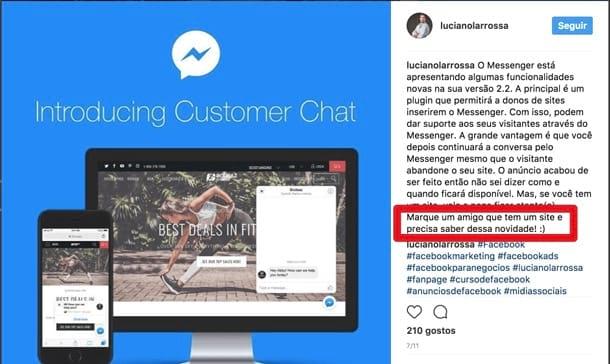 Instagram: peça para deixarem comentários