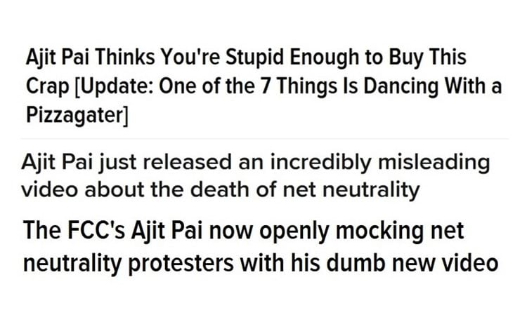 Comentários sobre o vídeo do presidente da FCC