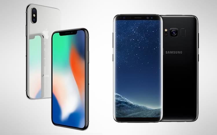 iPhone X e Galaxy S8, aparelhos que foram especulados com a característica de leitor biométrico na tela.