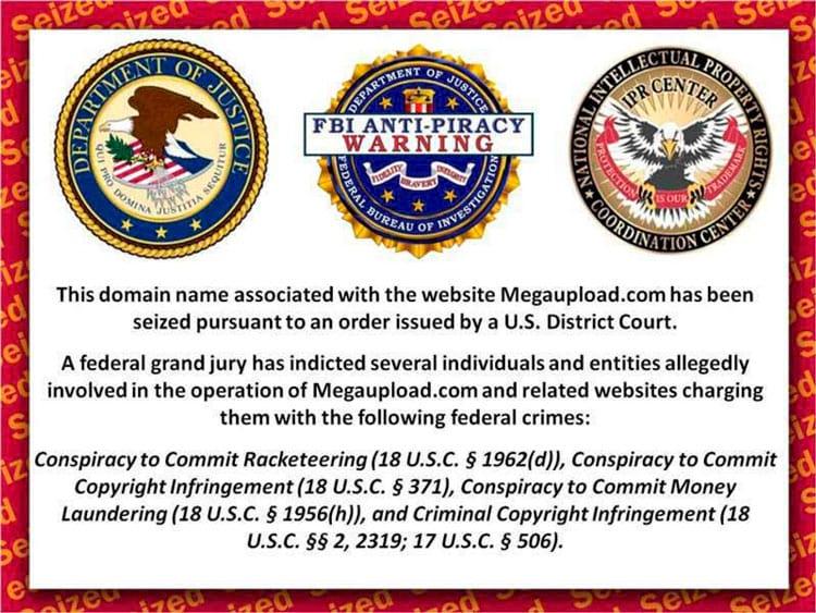 Bloqueio do Megaupload pelo FBI há uns anos atrás