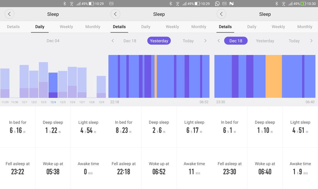 Sleep monitoring screens