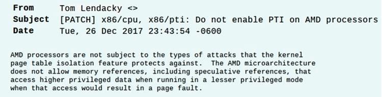 E-mail enviado pelo engenheiro de software da AMD.