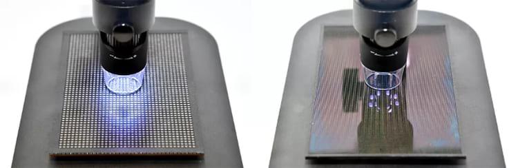 Diferença entre LEDs (à esquerda) e MicroLEDs (à direita).