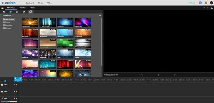 WeVideo oferece timeline como a dos grandes programas de edição