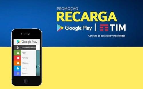 Tim tem promoção de recarga que gera R$ 10 de bônus para resgatar na Google Play