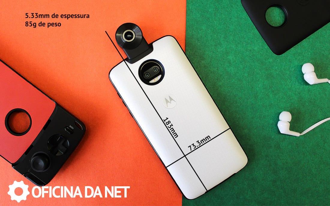 Snap Moto 360 câmera - medidas do aparelho