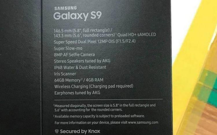 Imagem vazada da suposta caixa do Galaxy S9.