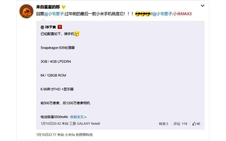 Publicação feita na rede social Weibo