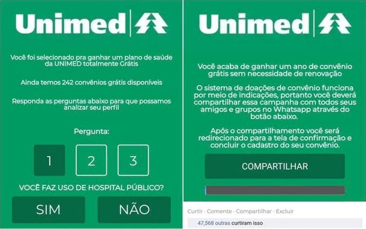 Mensagem com a promessa de um ano grátis do plano de saúde é falsa