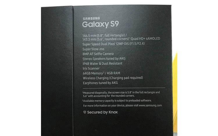 Possível caixa do Galaxy S9