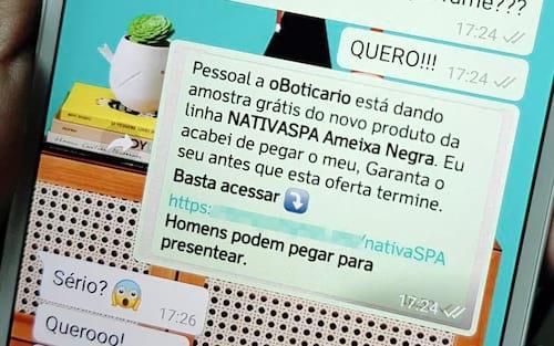 Novo golpe no WhatsApp utiliza promoção de O Boticário da linha Nativa SPA