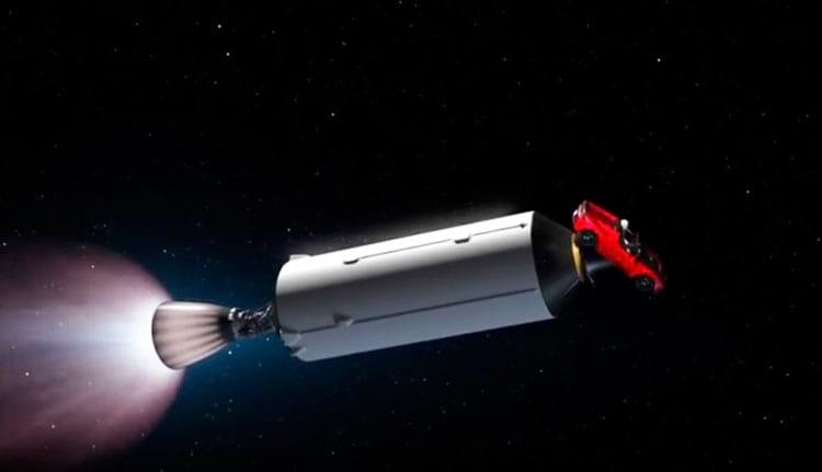 Representação de como o Roadster segue sendo impulsionado pelo espaço