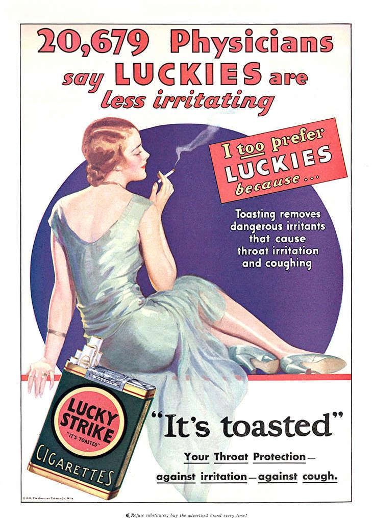 Médicos diziam que Lucky Strike era menos irritante à garganta e não dava tosse