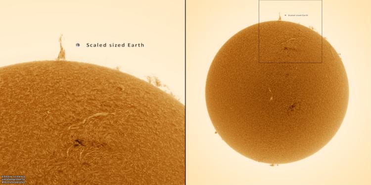 Escala da Terra ao lado da erupção