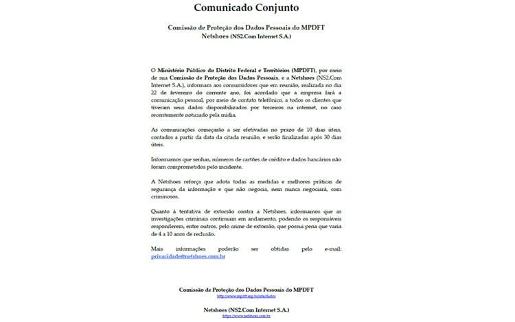 Netshoes Brasil confirma vazamento de dados de clientes