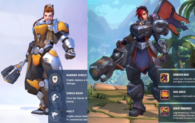 Brigitte do Overwatch seria a cópia de Ash do Paladins?
