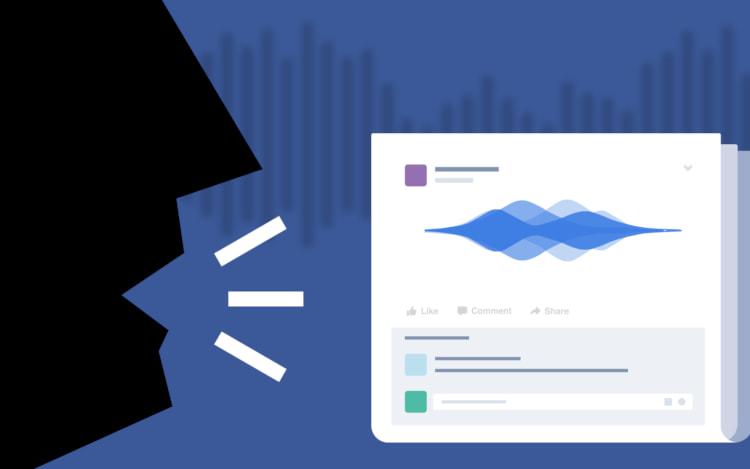 Facebook inicia os testes de posts com áudios no feed de notícias.