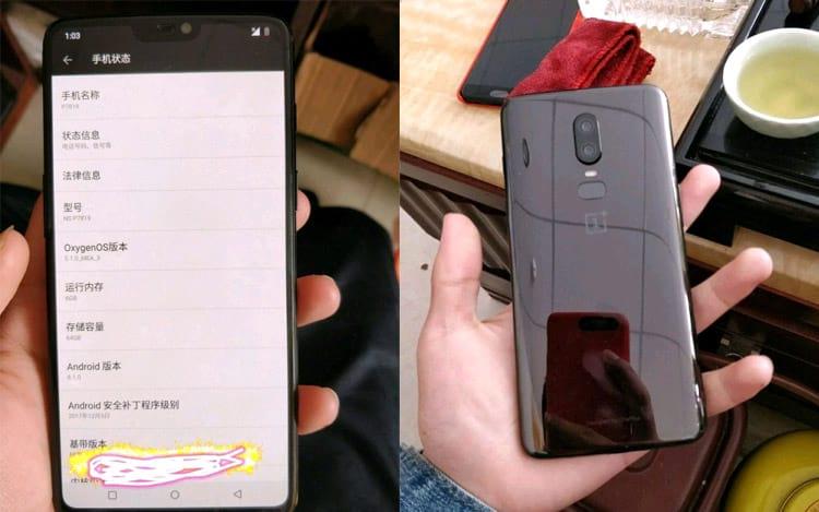 OnePlus 6 notch - suposta foto vazada
