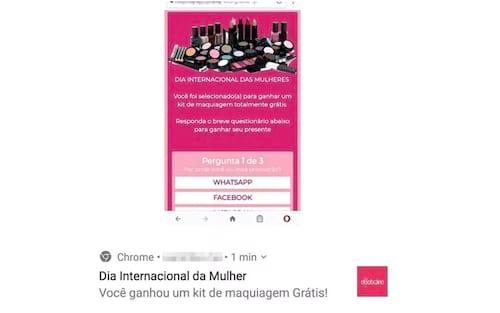 Novo golpe no WhatsApp oferece kit de maquiagem gratuito no Dia das Mulheres