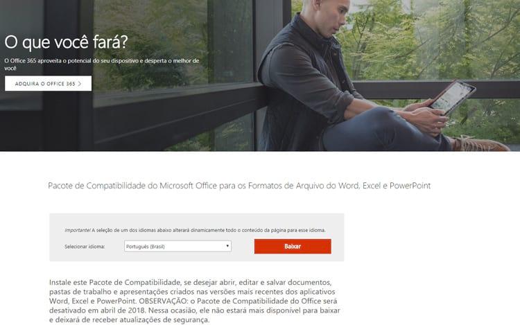 No site da Microsoft, o aviso que notifica que o pacote será desativado.
