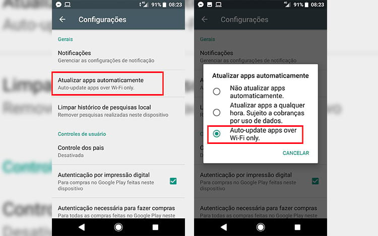 Atualizações sempre que estiver no Wi-FI - para evitar o consumo de seus dados móveis