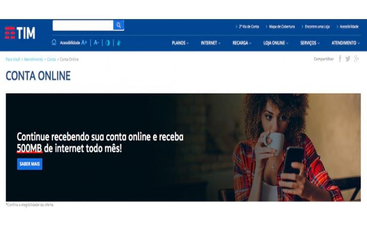 8ccdc9854 TIM oferece bônus de internet para clientes com faturas online