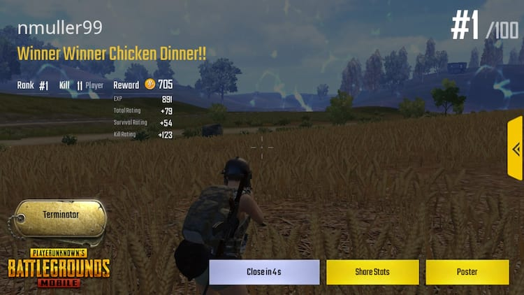 Winner winner chicken dinner - PUBG on smartphone