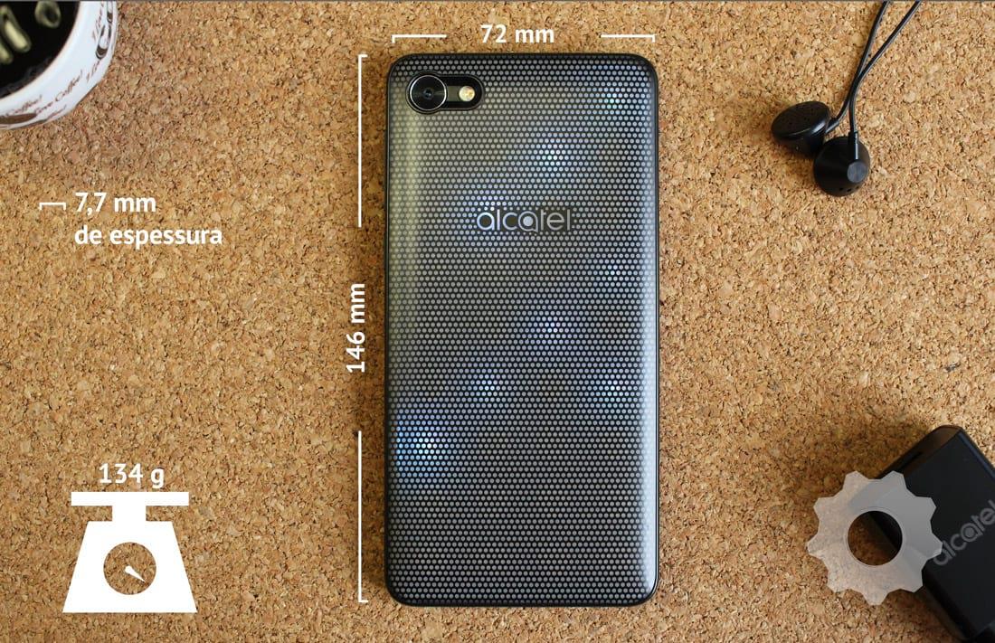 Alcatel A5 Max Led Edition - Dimensões:146mm de altura, 72mm de largurae77mm de espessura