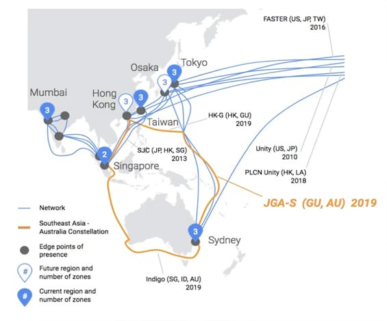 Mapa que explica o percurso dos cabos. (Imagem: divulgação do blog do Google)