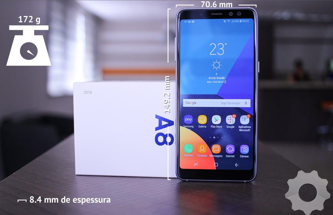 Galaxy A8 - dimensões do aparelho: 149.2 x 70.6 x 8.4 e ele pesa 172g.