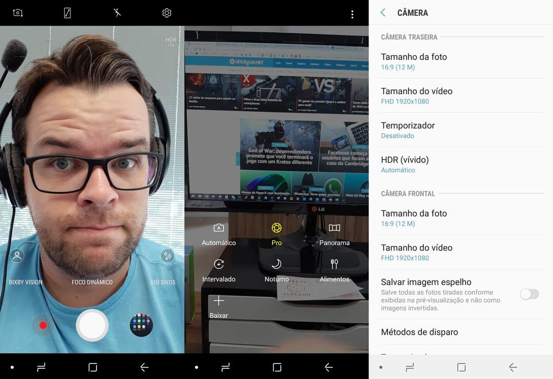 Telas do app da câmera