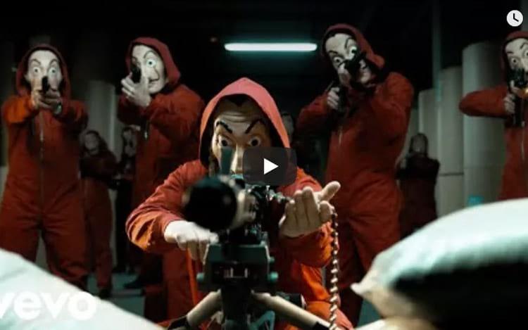 Imagens de La Casa de Papel foram colocadas no lugar dos vídeos de música
